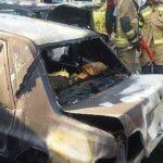 آتش گرفتن همزمان ۲ پراید به علت نامعلوم + تصاویر